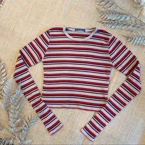 Brandy Melville Striped Long Sleeve Crop Top